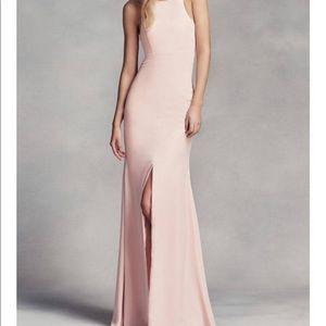 Vera Wang blush racerback bridesmaid dress